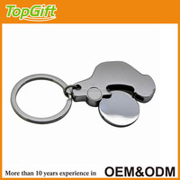 Car shape supermarket shopping cart chip trolley token coin metal keychain