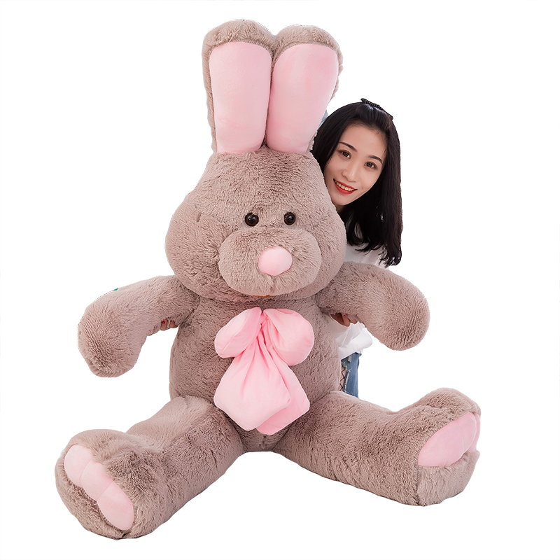 2019 Wholesale giant bunny american huge <strong>rabbit</strong> with pink bowknot short plush stuffed toys