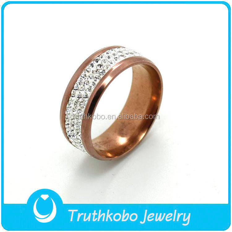TKB-R0220 A Row Of Diamond Beatiful Brown Style Art Design 316L High-Quality Stainless Steel Rings