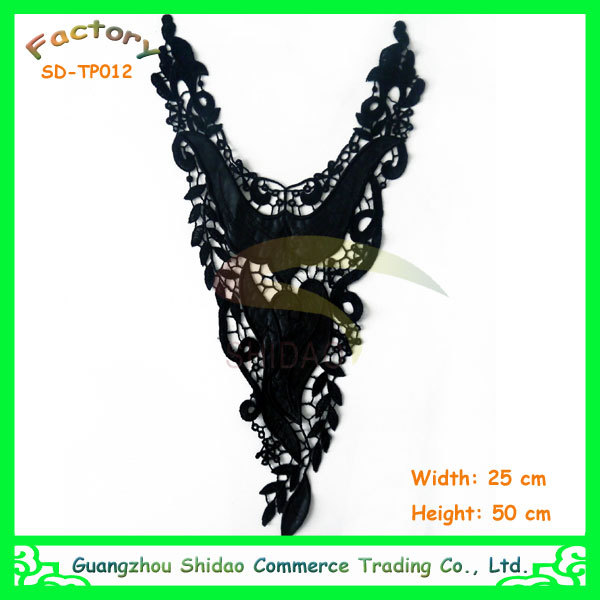 Black Polyester Embroidery Lace and Leather Applique Flower Collar Neckline SDTP012