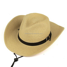 Design your own straw leather cowboy hat QHAT-5220