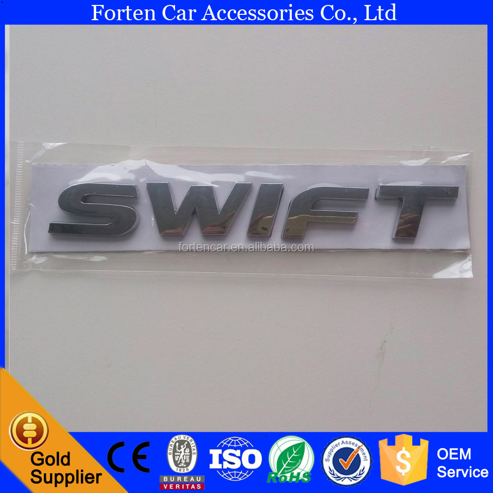 ABS Silver Chrome 3M Adhesive Swift Letter Badge Car Trunk Decal