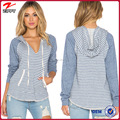 2015 Ladies plain stripe hoodie top with drawstring tie and kangaroo punch pocket