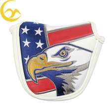 Wholessale US flag golf putter headcover magnetic closure mallet golf putter cover