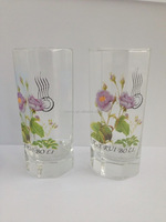 DRINKING WATER GLASS WITH FLOWER DESIGN,HIGH BALL GLASS TUMBLER