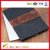 Deep Grey Fashion Design Metal Button Closure Wool Felt Tablet Case, Durable Luxurious Genuine Leather Felt Sleeve Wholesale