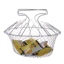 Trade Assurance Foldable multi-function stainless steel chef basket