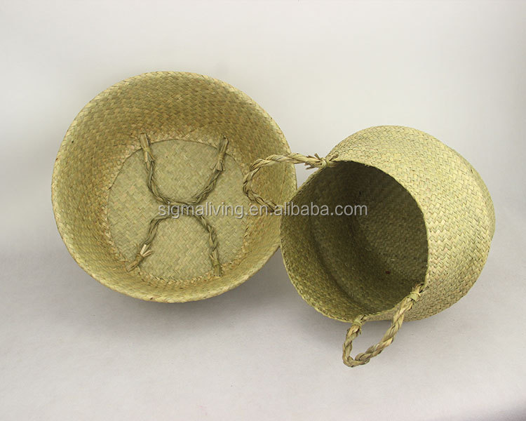 New design quality hand-woven seaweed folding Nordic style flower pot