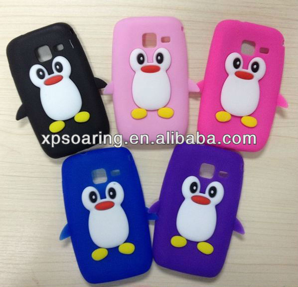 Cute penguin silicone case cover for Samsung Galaxy Wave Y S5380