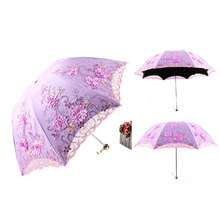 23 Inch 8k Different Colors Sunshade Lace Wedding Parasol Folding Umbrella