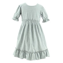 New Design Kids Summer Baby Cute Gray Short Sleeve Ruffle Dress Wholesale 15 Year Girl Without Dress