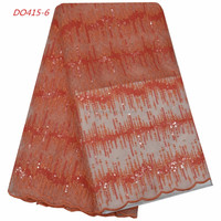 Orange/gray organza lace fabric with stones high quality fashion african tulle lace embroidered fabric polyester guipure laces