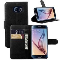 Embossed Wallet Paragraph Insertion Bracket Protective Sleeve Hard Back Cover Case for Samsung S6 Edge