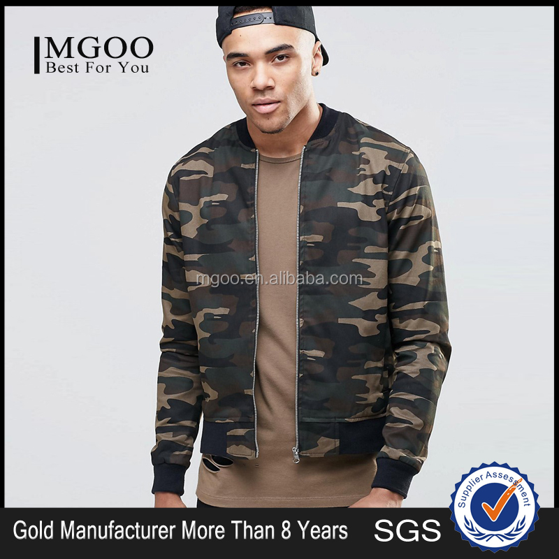 European Design Men Bomber Jacket In Camo Print Oversized Winter Jacket With Custom Logo Fashion Streetwear Thick Coat