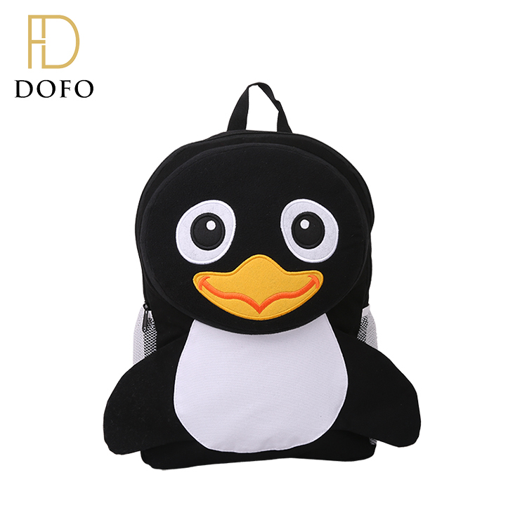 Fashion high quality cute mini black small canvas kids animal backpack