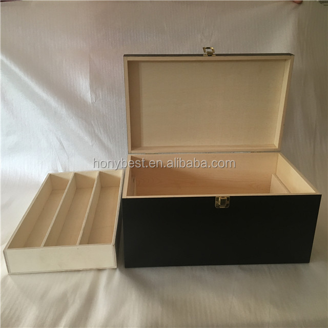 Most Selling Painted Black Box Packaging Hinged Wooden Secret Stash Box with Rolling Tray