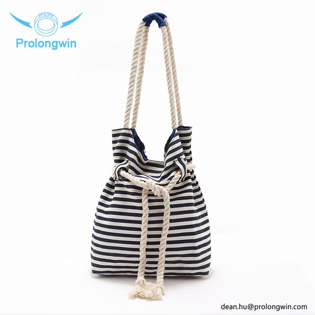 2017 Custom Canvas Shopping Bag Wholesale Ladies stripe Jean cotton bags with logo