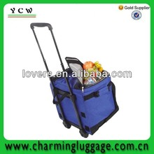 Shenzhen factory wholesale blue wine beach trolley cooler bag