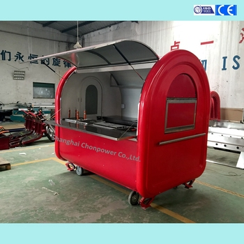 customized red food cart food truck for street snacks with ce iso9001