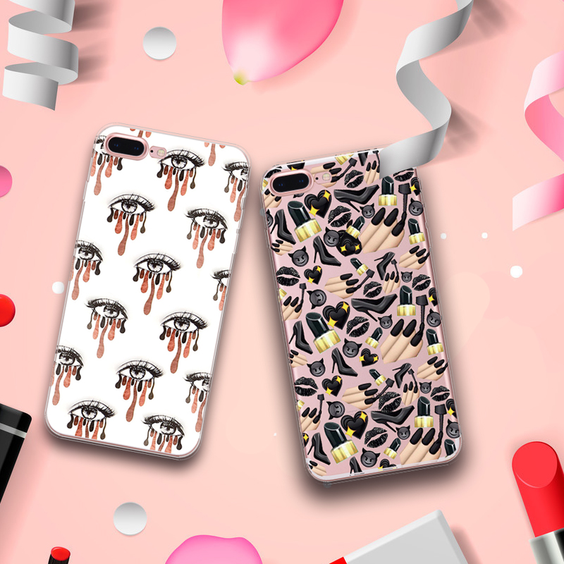 Customzie OEM UV printing lips mouth pattern silicone clear soft tpu phone case cover for iphone 6s 6 7 Plus