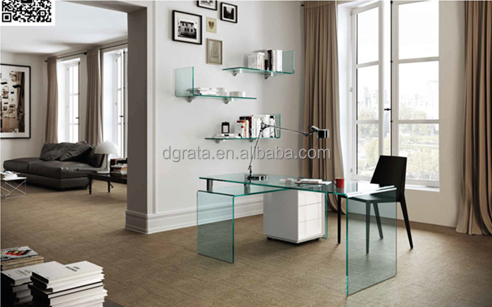2016 New design clear glass office desk is made by tempered toughened glass for office furniture