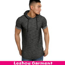 New arrival woven fabric longline t shirt, men t shirt with hood