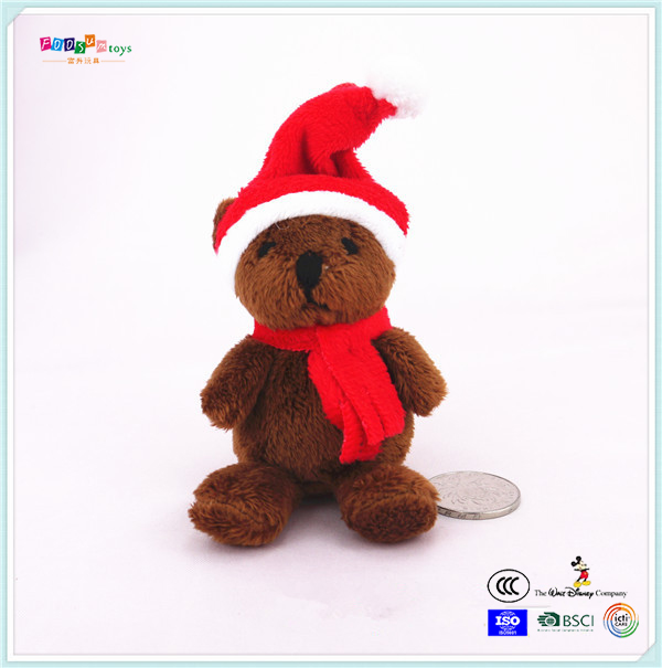 Lovely stuffed teddy bear animal toy with Christmas CUSTOM OEM ICTI