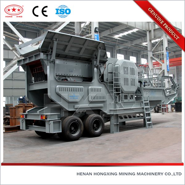HXJQ mobile concrete crushing machine, moveable gravel crushing production line