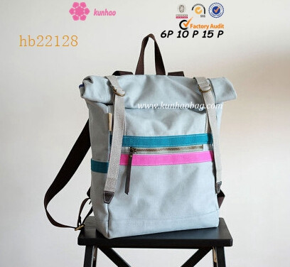 Rolltop Canvas Backpack with Colorful Straps