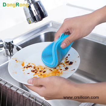 Dongrong Cute Multi-color Food-grade Antibacterial Silicone Non Stick Dishwashing Brush for Dish Scrubber Multi-purpose Cleaning