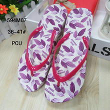 2016 Leaf printing PCU feminine beach sandals thick sole flat flip flops slippers