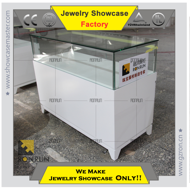 2015 Luxury WHITE glass and wood jewelry showcase display counter in wood jewelry counter
