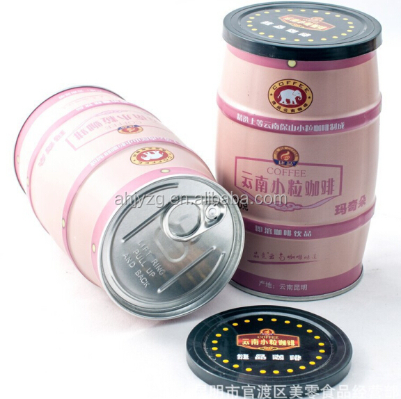 barral shape cylinder coffee can tin box with plastic lid packing coffee
