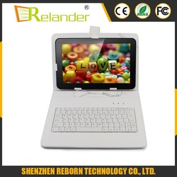 "Multi-Color 10"" Folding PU Leather Case Cover with Micro USB Keyboard for 10'' Tablet PC Pad Pure Colour"