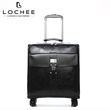 22 Zipper Leather Black Lady Business Travel Luggage 20 Trolley Bag