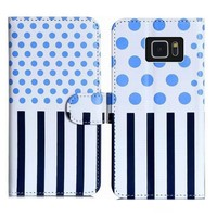 Premium PU Leather Wallet Cover Case for Samsung GALAXY S6 edge,for S6 edge Book Cover Case,for G9205 Polka Dot Case