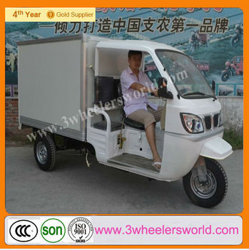 Closed body type Cargo use for 4 stroke engine 200cc Displacement three wheel motorcycle with cabin/motorized tricycle