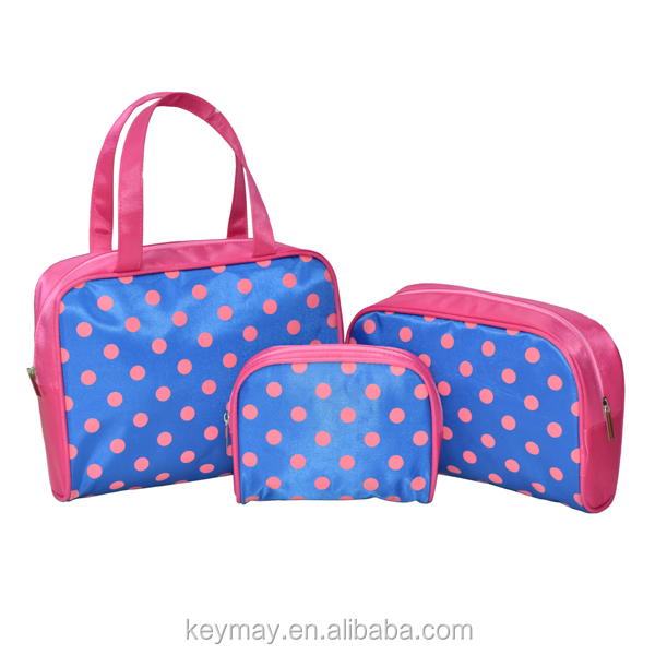 China designer satin polka dot women travel cosmetic bag kits