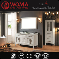 Double Sinks Bathroom Cabinet White color Oak Wood Vanity Made In China No.1001C