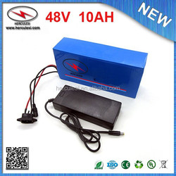 Free Shipping 720W 48V Electric Bicycle Bike Battery 48V 10Ah Lithium 18650 Li ion Bike Battery with PVC Case 15A BMS + Charger