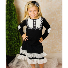 boutique children fall winter clothes kids long sleeve dress new design ruffle cute baby sweet girl cotton fancy frock