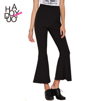 HAODUOYI Autumn New Women Bell Bottomed Capris Pants OL Style Flares Cropped Trousers for Wholesale
