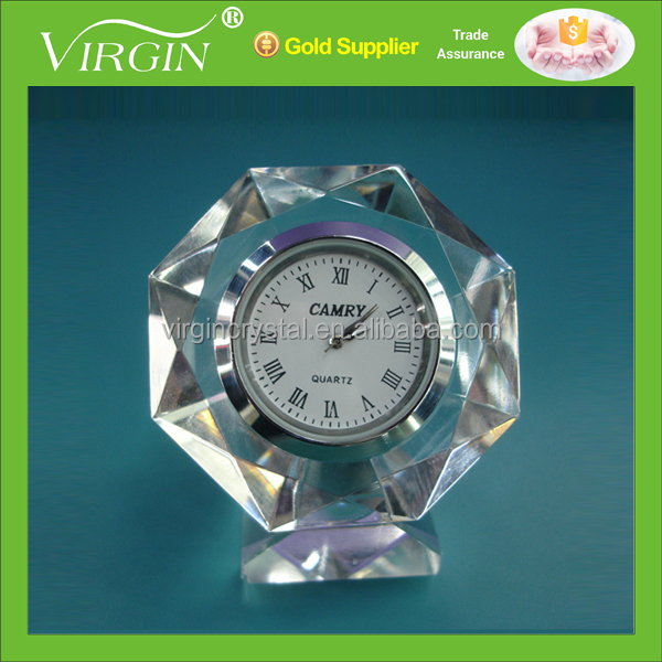 Crystal diamond cutting small pocket clock