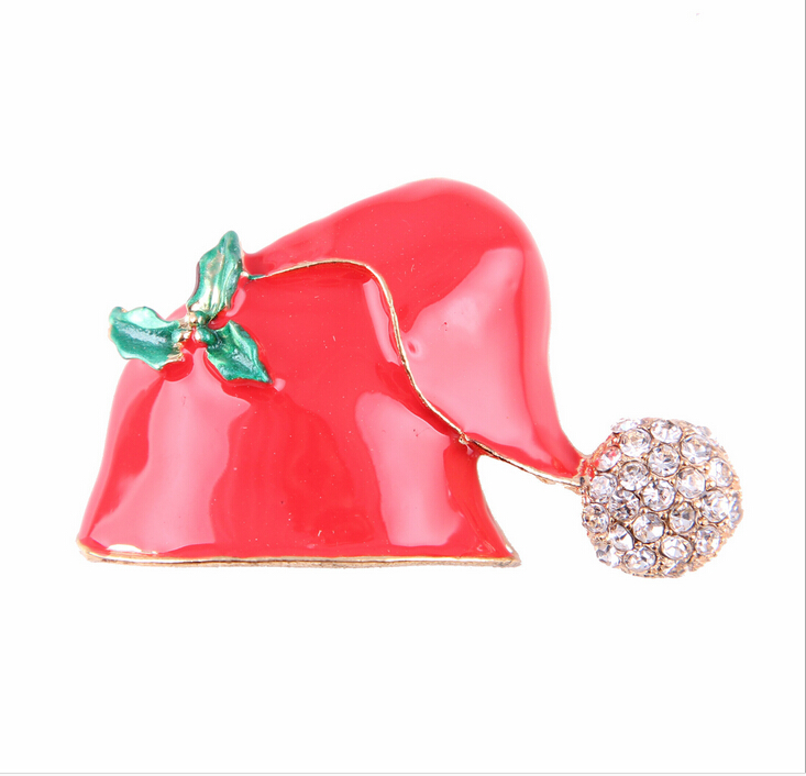 china wholesale brooch fashion alloy gold enamel red christmas hat shape brooch pins