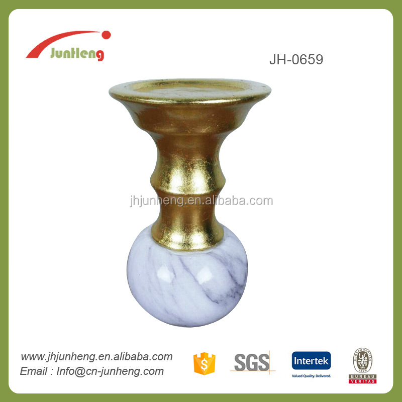 Gift marble gold marble ceramic gold gold rim glass candle holder, christmas decoration sale