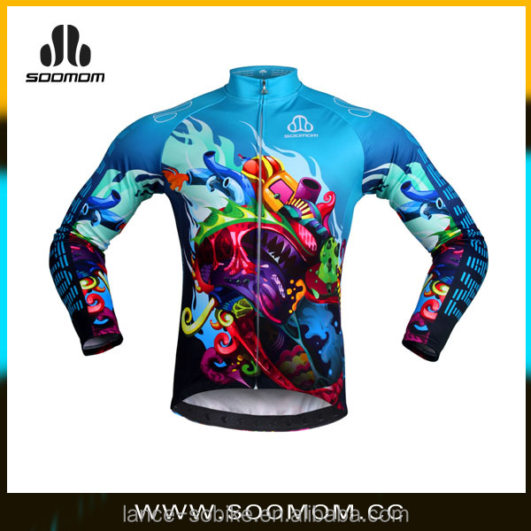 fleece wind stop sublimation print cycling jacket