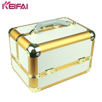 Elegant Double Open Combination Lock Professional Beauty Box Makeup Vanity Case