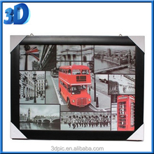 Double-deck bus Picture 3D Art Wall Decor Print Hd Home Painting framed