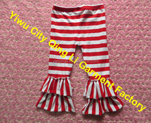Persnickety Baby Christmas Clothing Fashion Infant Toddler Girls Red white Stripe Double Ruffle Cotton Pants