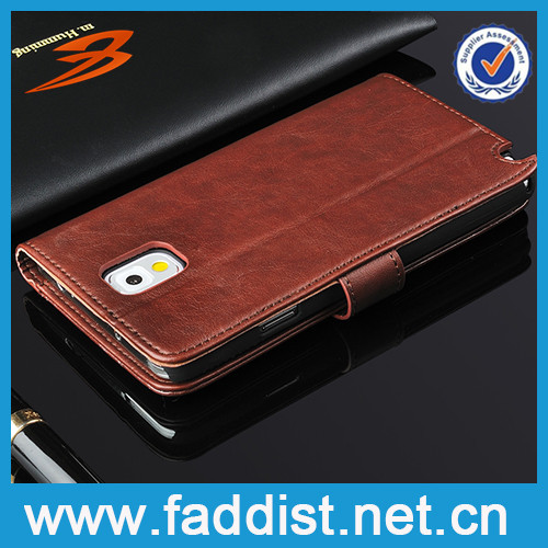 PU leather flip case for samsung galaxy note 3 case wtih wallet card slot design